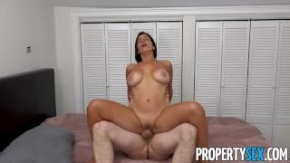 PropertySex – Spanish tourist with big tits makes BNB host cum